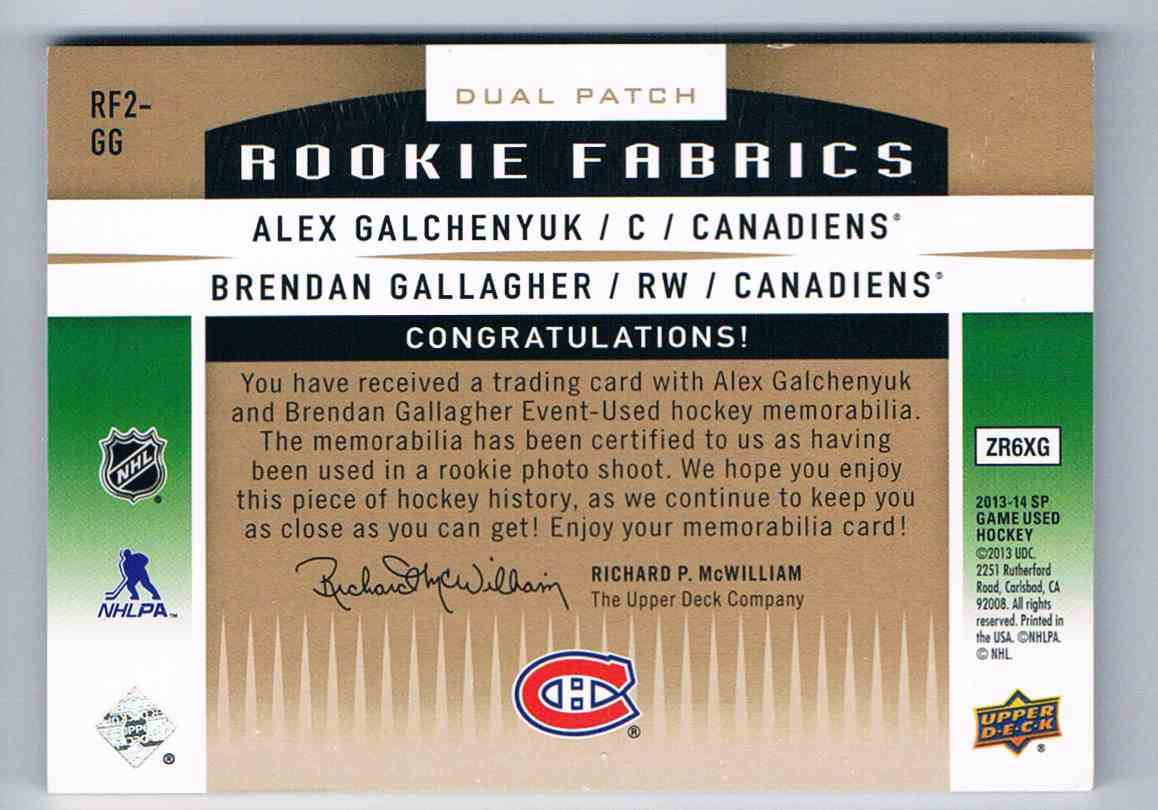 2013-14 Upper Deck SP Game Used Rookie Fabrics Dual Alex Galchenyuk/Brendan Gallagher #RF2-GG card back image