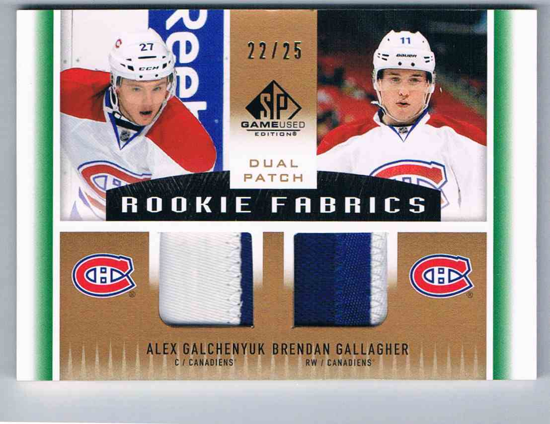 2013-14 Upper Deck SP Game Used Rookie Fabrics Dual Alex Galchenyuk/Brendan Gallagher #RF2-GG card front image