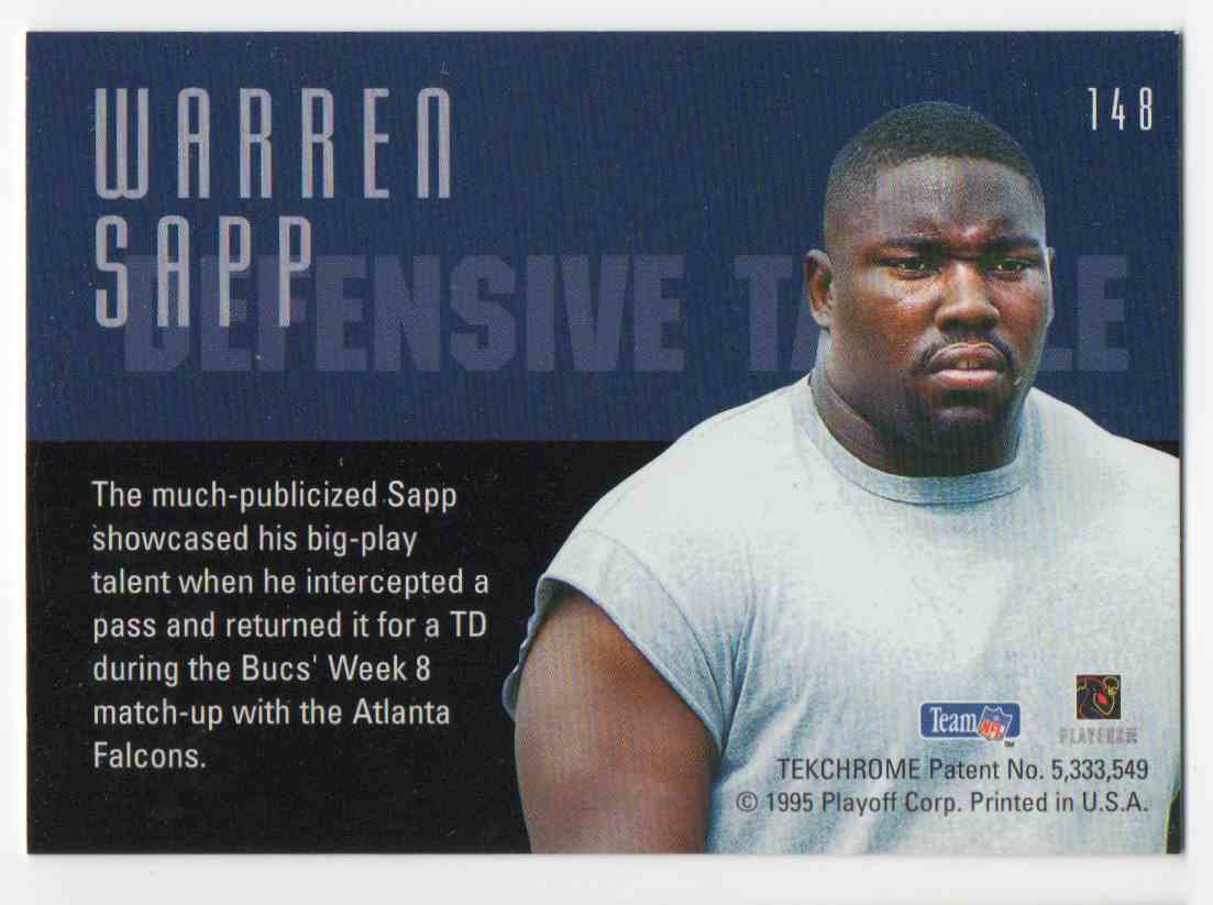 1995 Playoff Contenders Warren Sapp #148 card back image