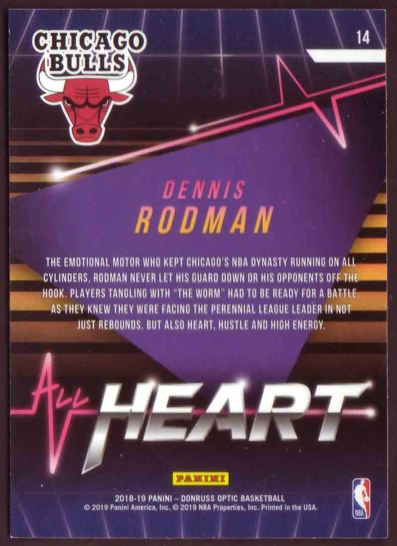 2018-19 Donruss Optic All Hearts Dennis Rodman #14 card back image