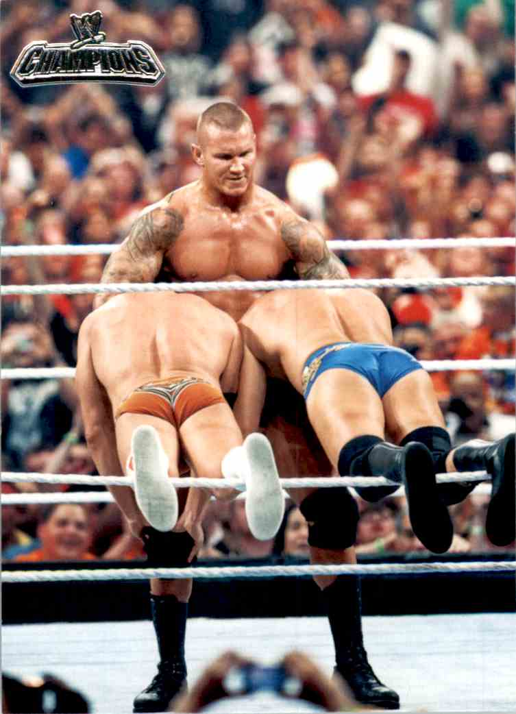 2011 Topps Wwe Champions Randy Orton Defeats Rhodes And DiBiase #3 card front image