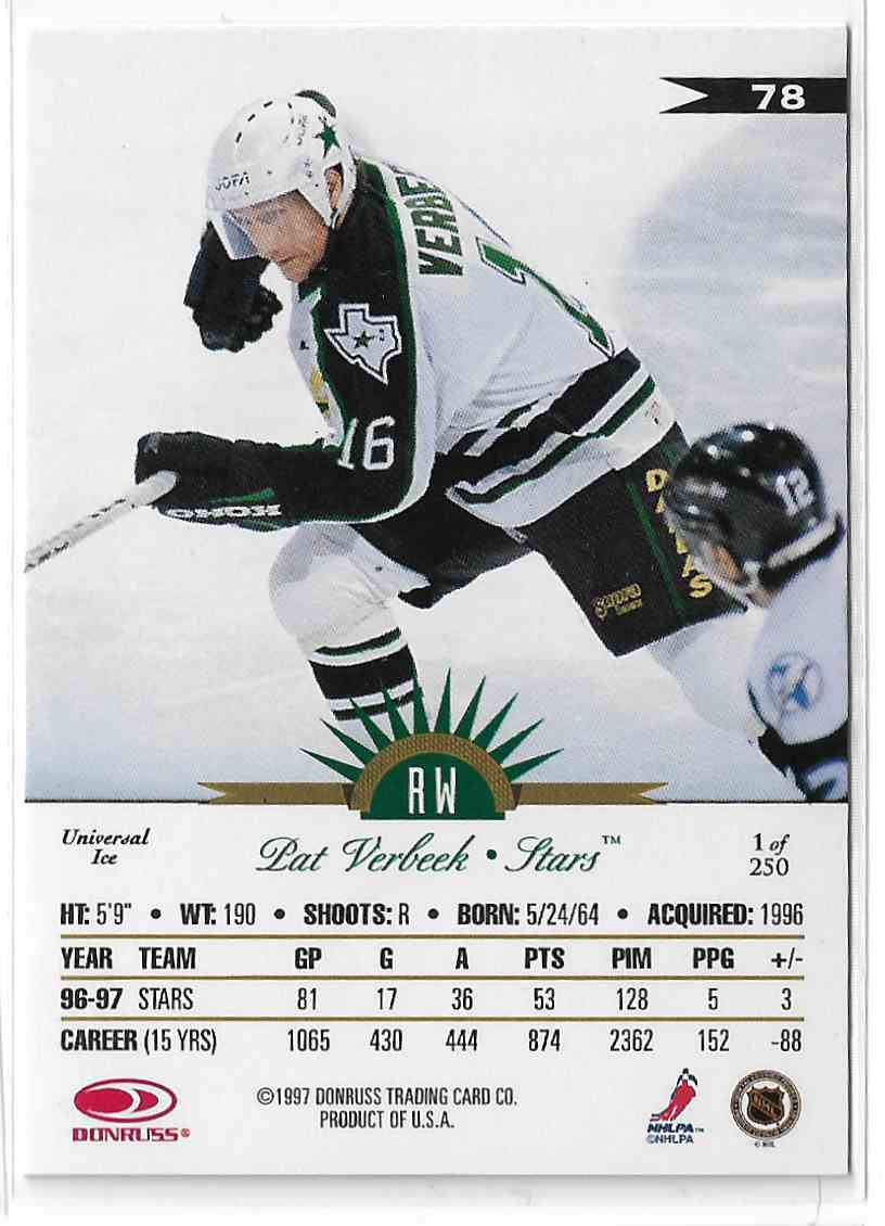 1997-98 Leaf International Universal Ice Pat Verbeek #78 card back image