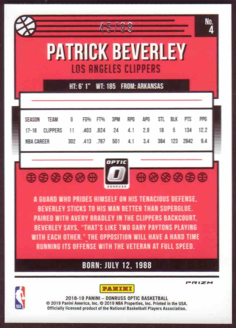 2018-19 Donruss Optic Prizm Red Patrick Beverly #4 card back image