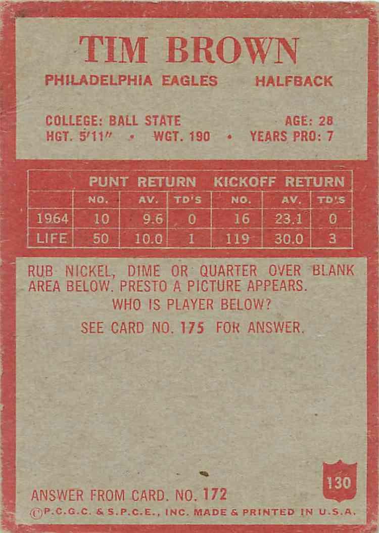 1965 Philadelphia Tim Brown #130 card back image