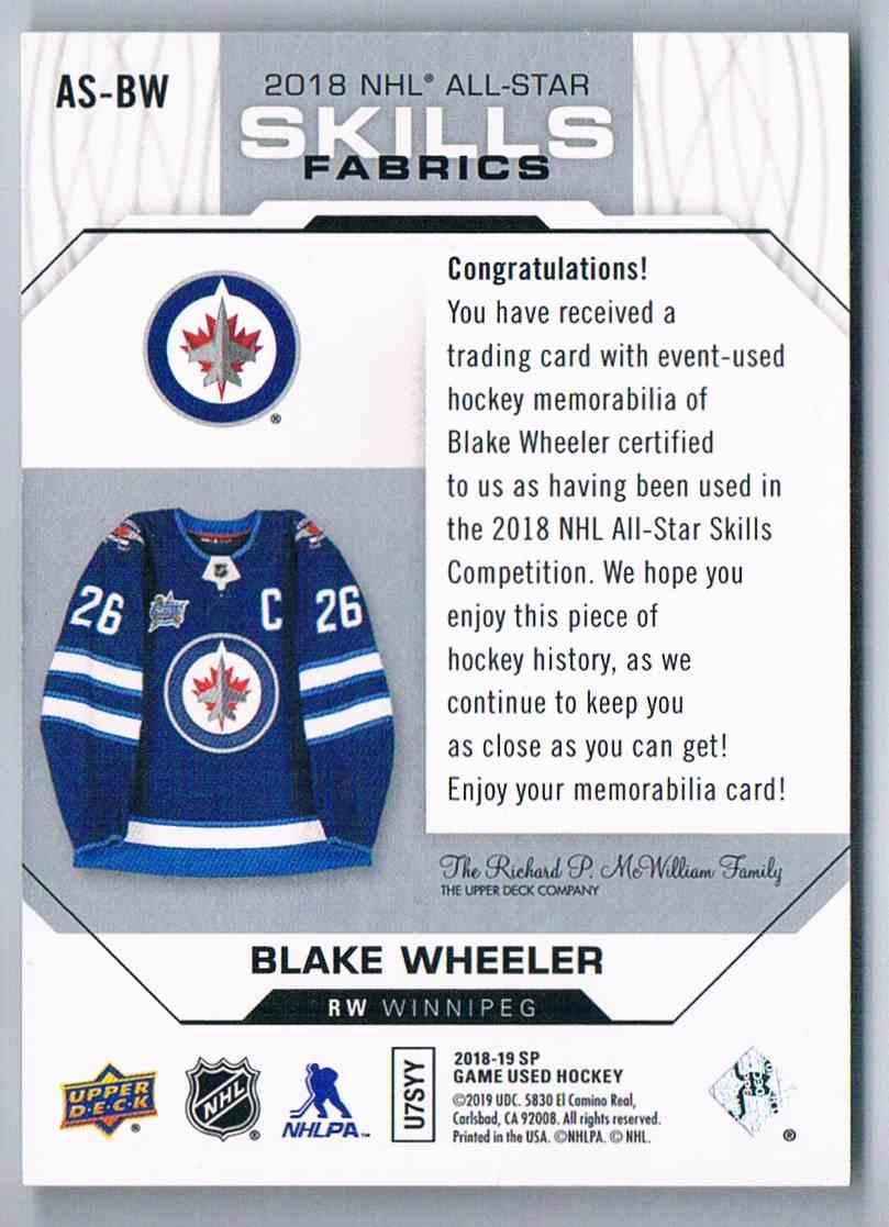 2018-19 SP Game Used Skills Fabrics Blake Wheeler #AS-BW card back image