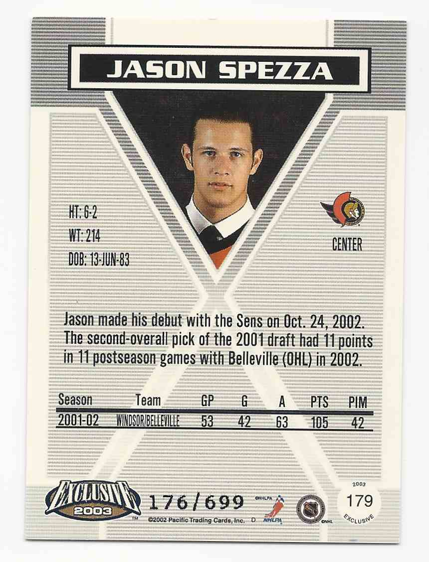 2002-03 Pacific Exclusive Blue Jason Spezza #179 card back image