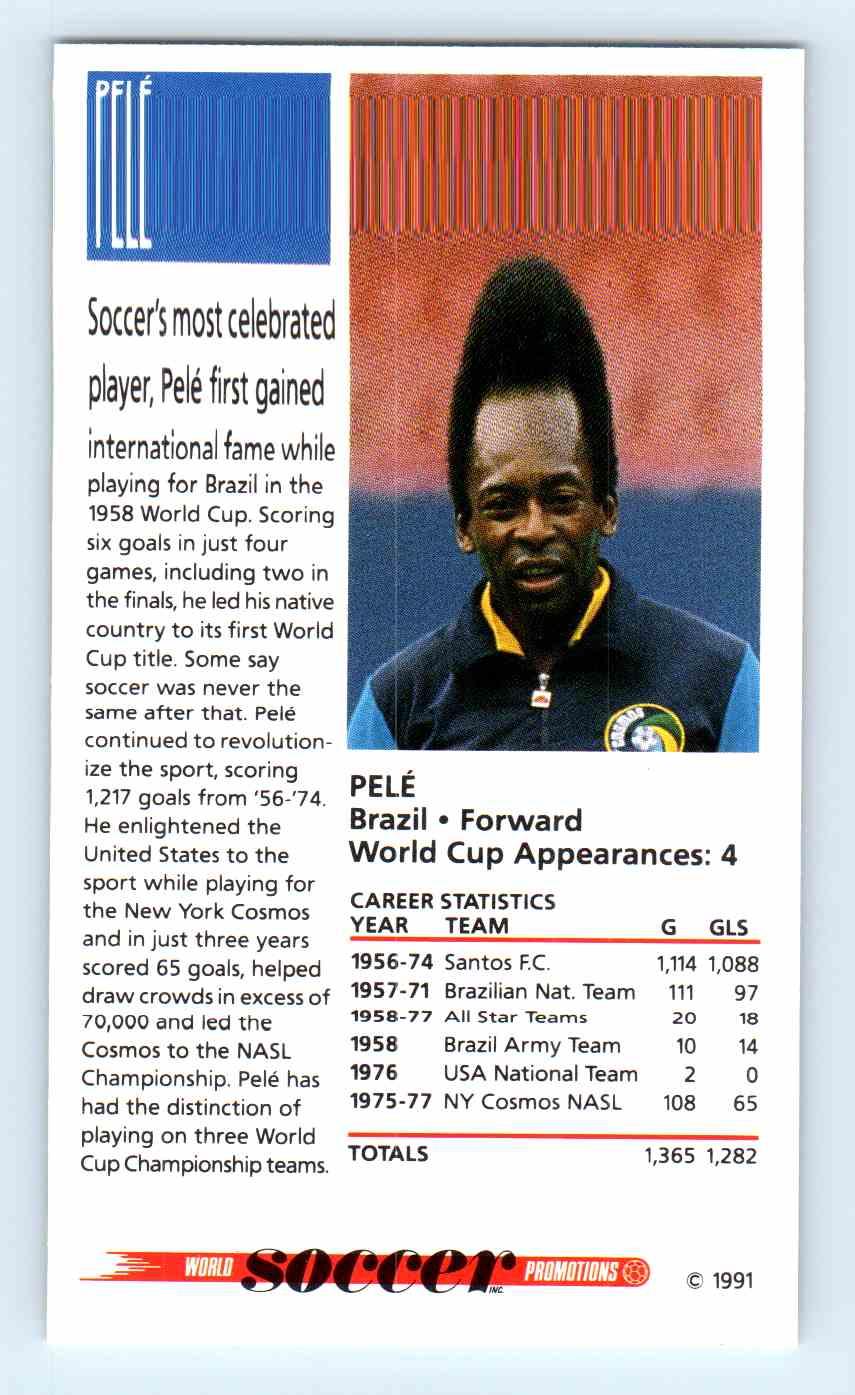 1991 Soccer Shots Promotion Pele #101 card back image