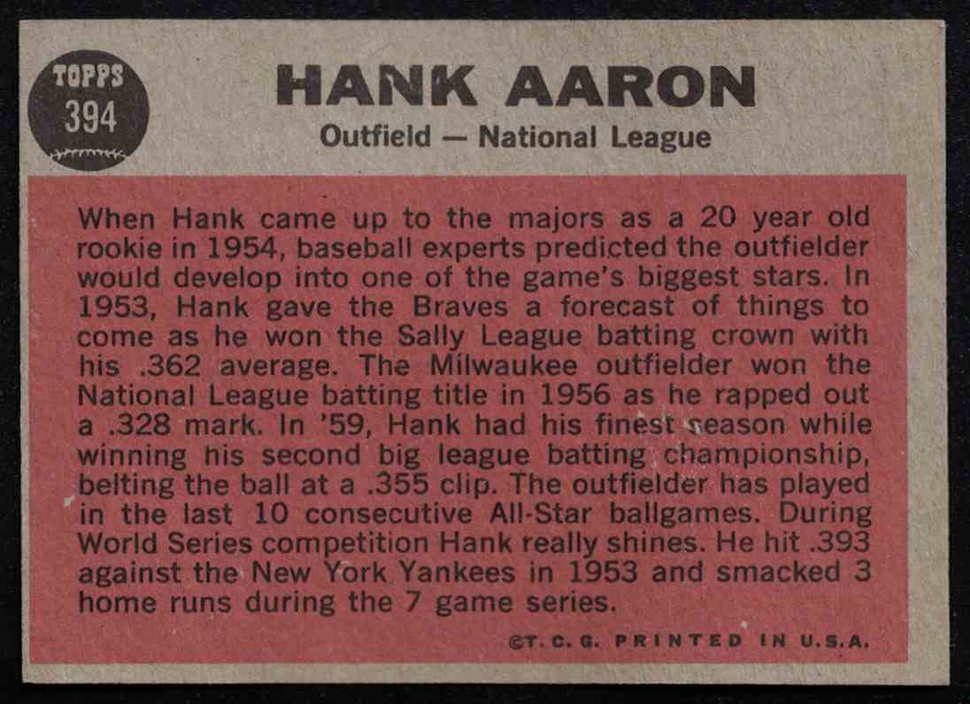 1962 Topps Hank Aaron All-Star VG #394 card back image