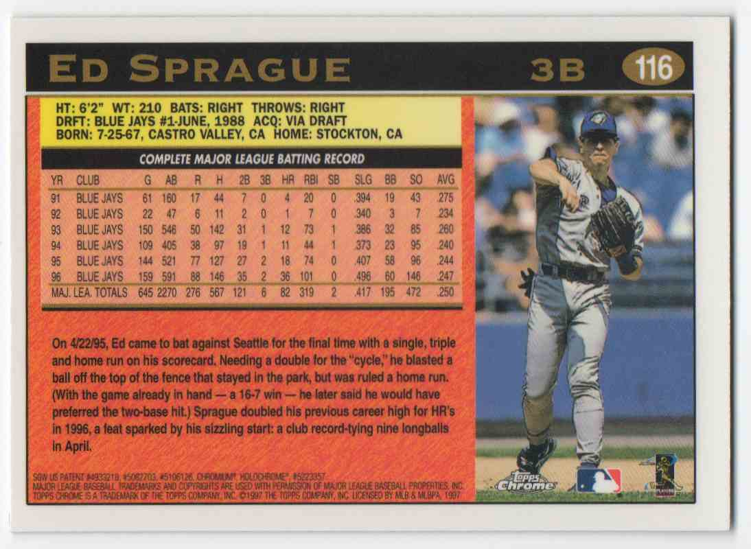1997 Topps Chrome Ed Sprague #116 card back image