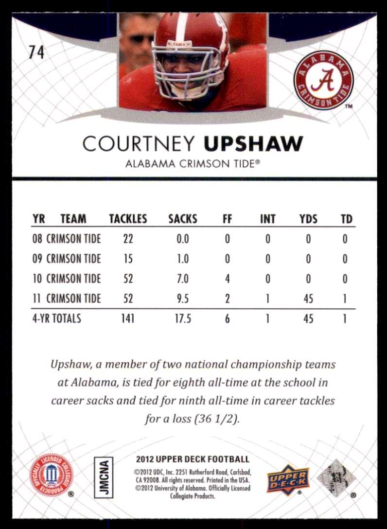 2012 Upper Deck Courtney Upshaw #74 card back image