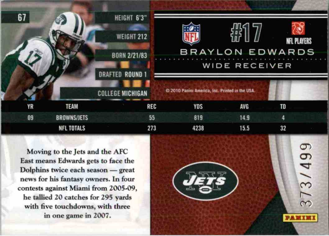 2010 Leaf Limited Braylon Edwards #67 card back image