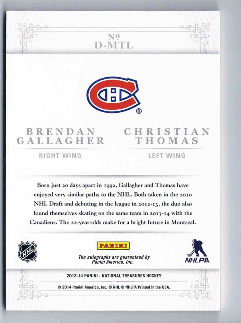 2013-14 Panini National Treasures Dual Autographs Dual Autographs Brendan Gallagher/Christian Thomas #D-MTL card back image
