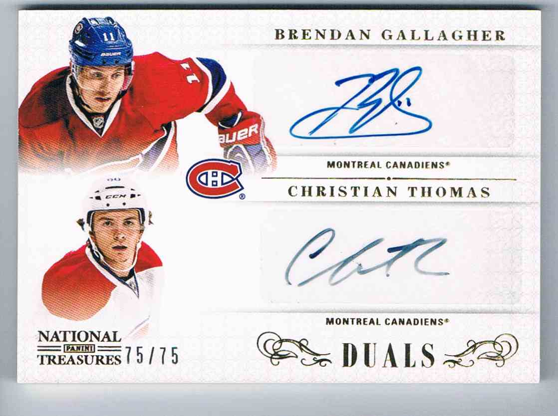 2013-14 Panini National Treasures Dual Autographs Dual Autographs Brendan Gallagher/Christian Thomas #D-MTL card front image