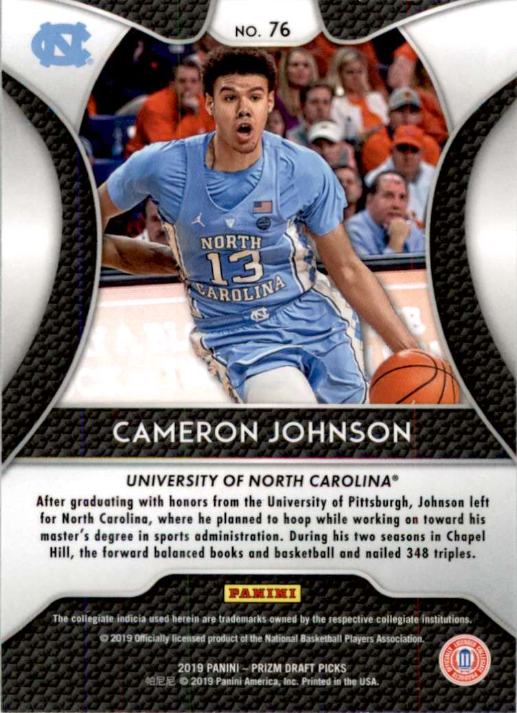 2019-20 Panini Prizm Draft Picks Base (A) Cameron Johnson #76 card back image