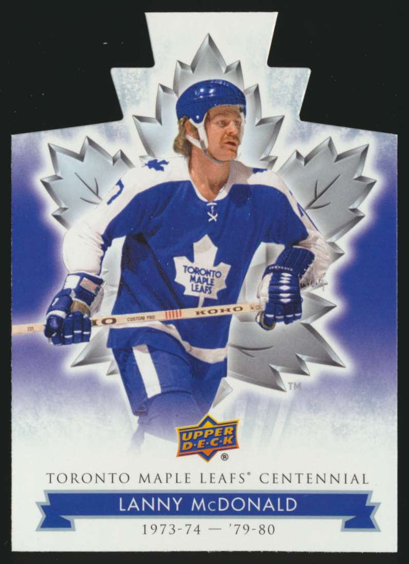 2017-18 UD Maple Leafs Centennial Die Cut Lanny McDonald #34 card front image
