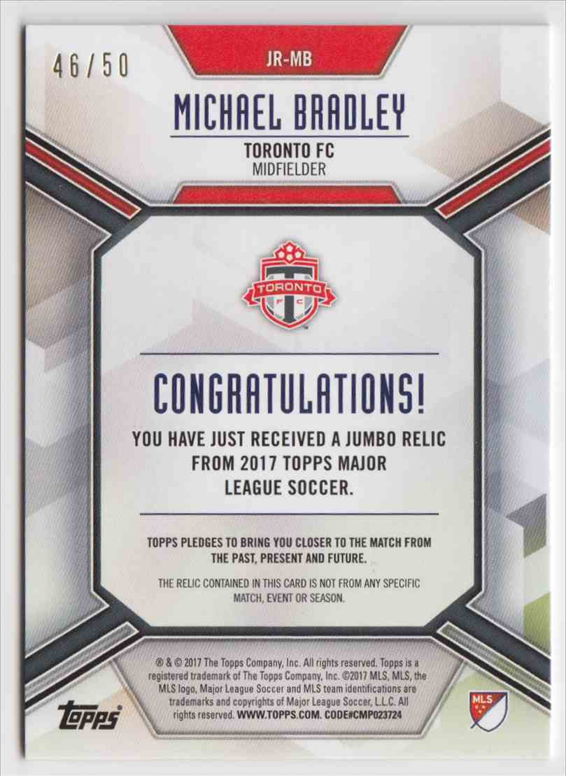 2017 Topps MLS Jumbo Relics Michael Bradley #JR-MB card back image