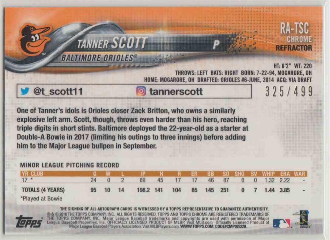2018 Topps Chrome Rookie Autographs Refractor Tanner Scott #RA-TSC card back image