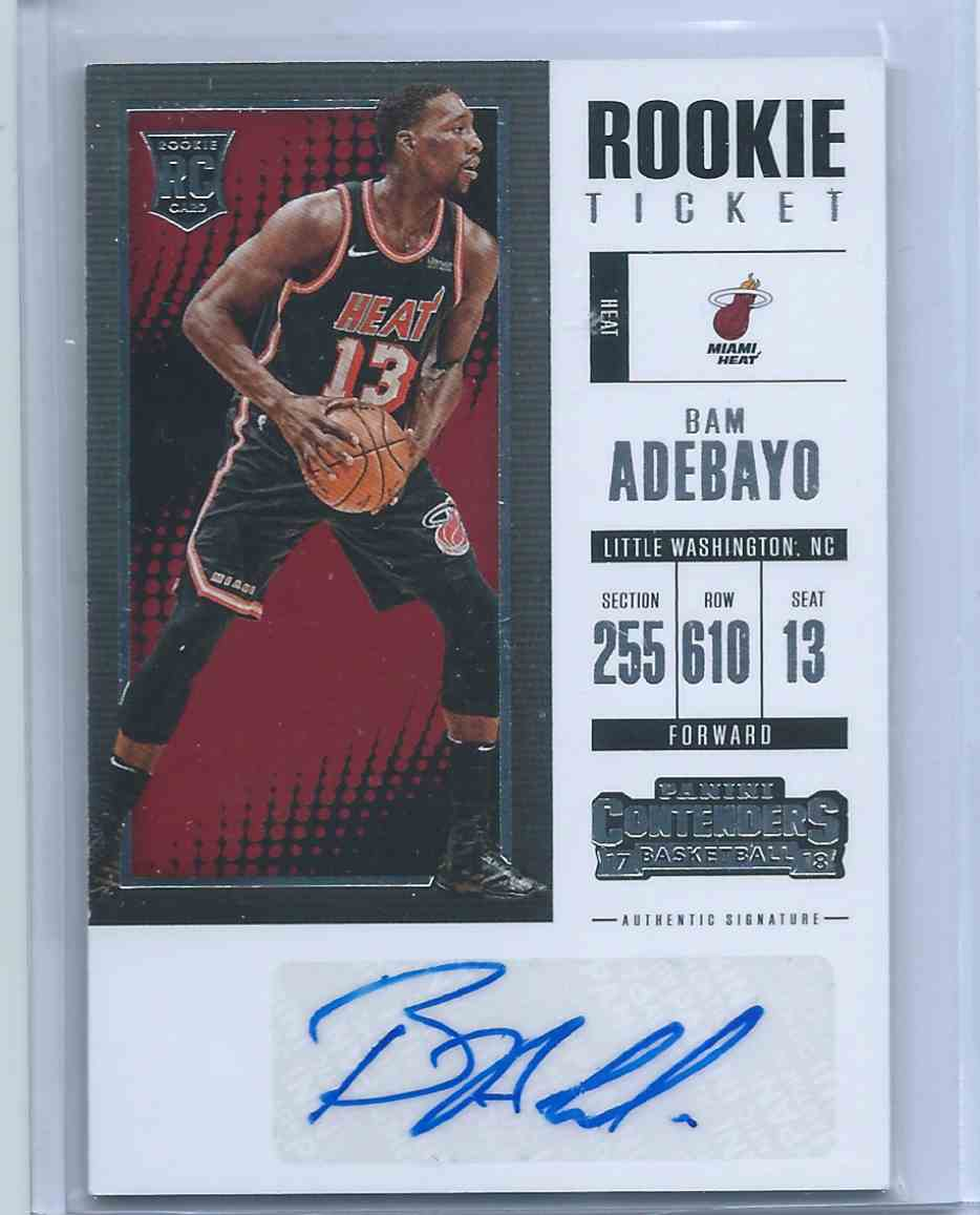 2017-18 Panini Contenders Retail Rookie Ticket Auto Bam Adebayo (Rc) Rookie #ST-BAM card front image