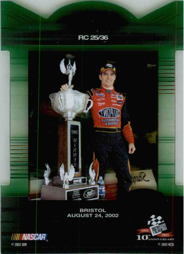 2003 Press Pass Eclipse Racing Champions Jeff Gordon #RC25 card back image