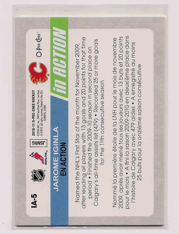 2010-11 O-Pee-Chee Jarome Iginla #IA-5 card back image