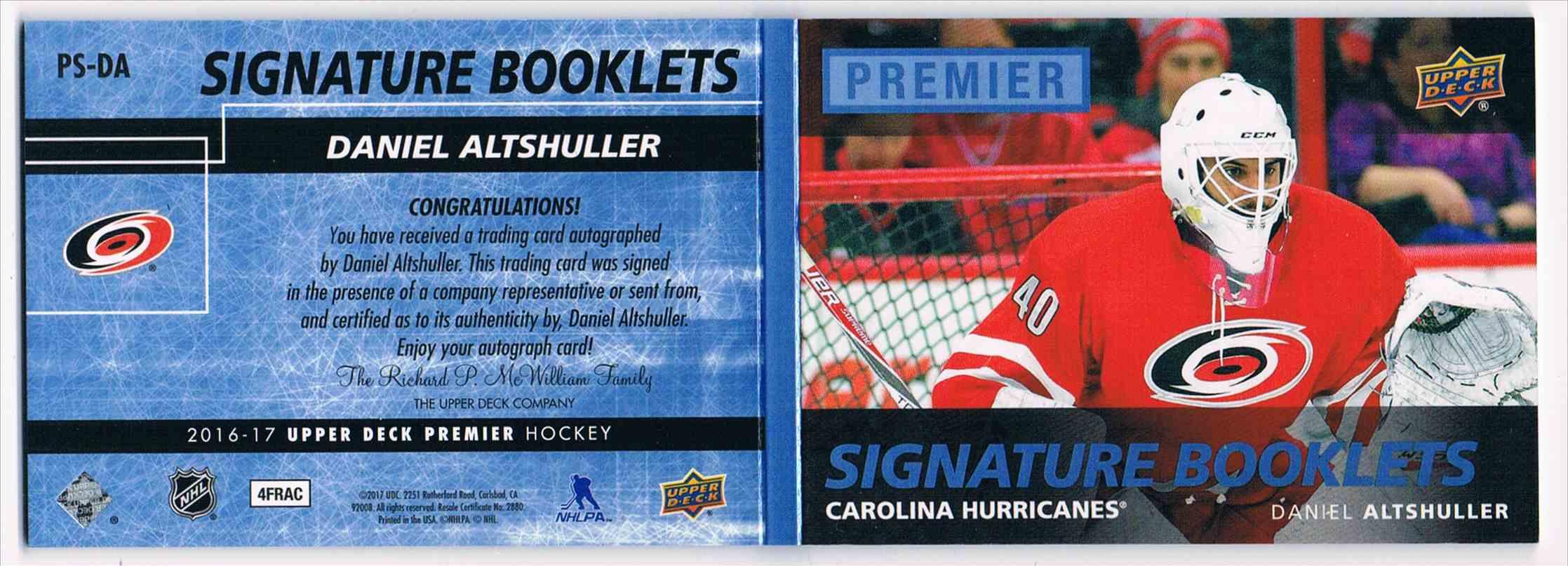 2016-17 Upper Deck Premier Signature Booklets Daniel Altshuller #PS-DA card back image