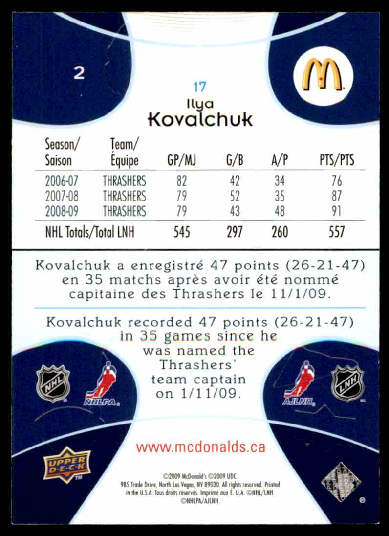 2009-10 Upper Deck McDonald's Ilya Kovalchuk #2 card back image