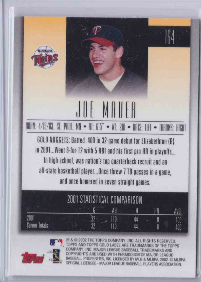 2002 Topps Gold Label Base Joe Mauer #164 card back image