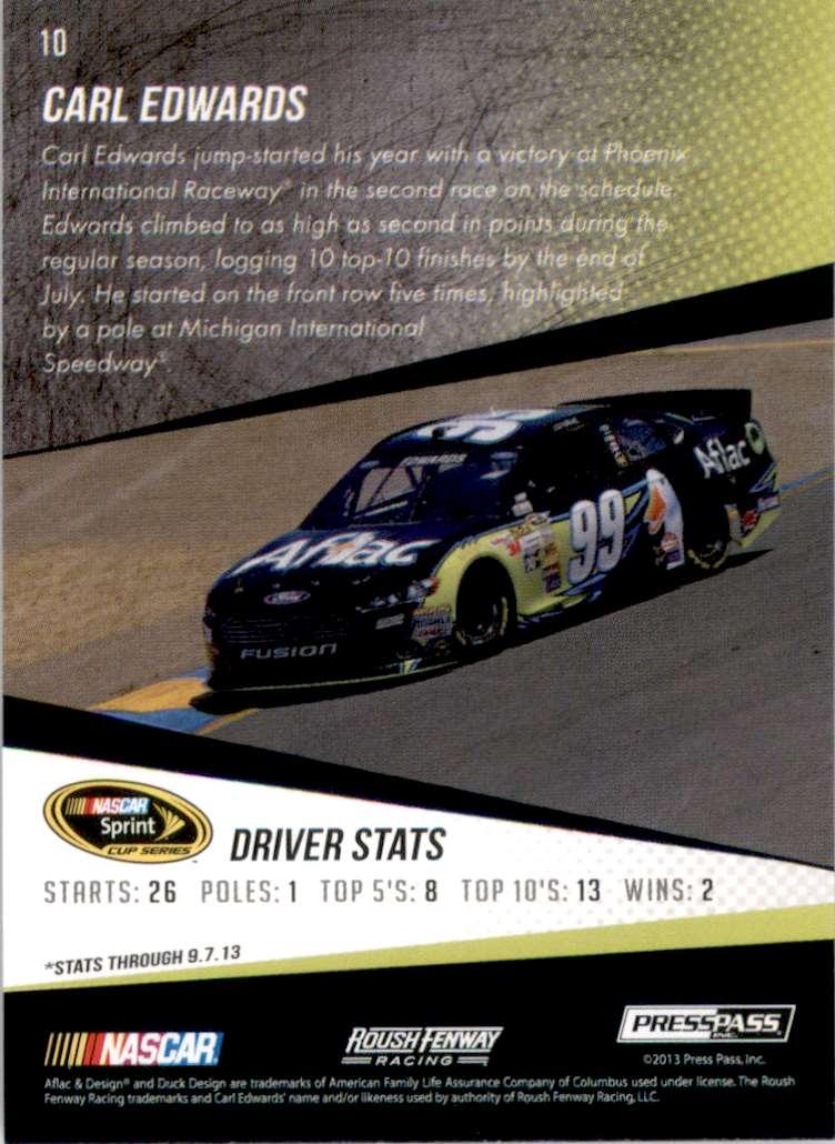 2014 Press Pass Carl Edwards #10 card back image