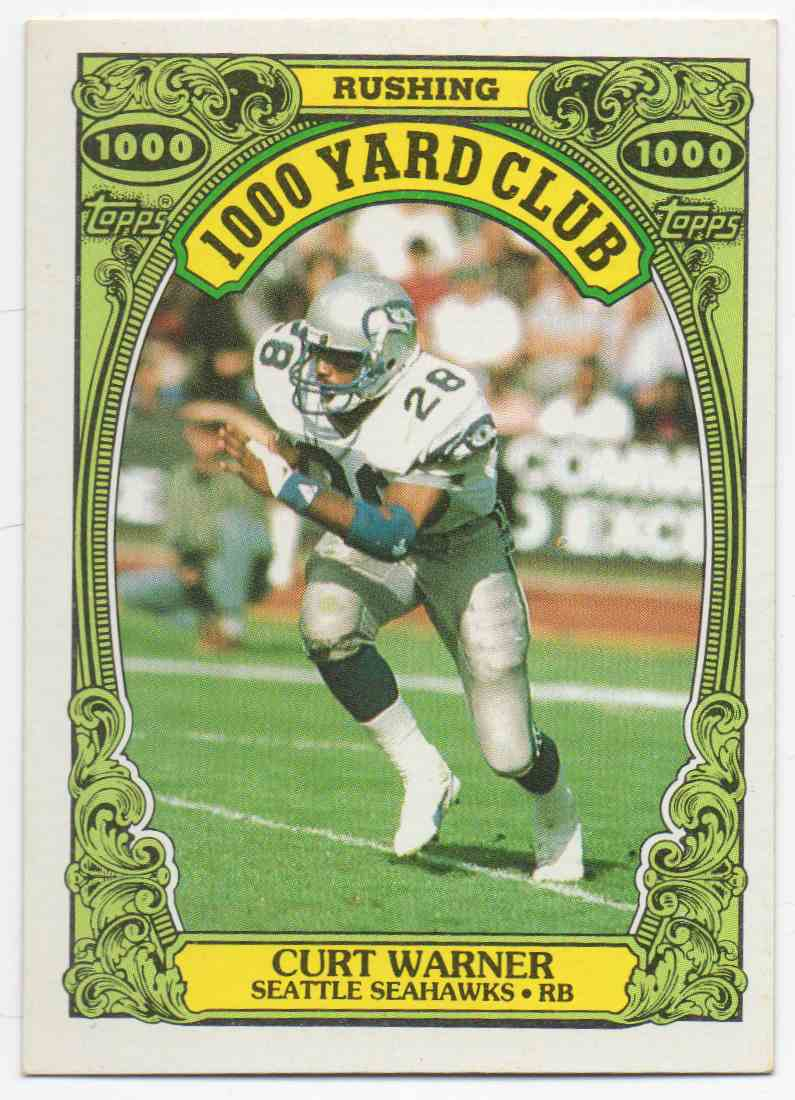 1986 Topps 1000 Yard Club Curt Warner #20 card front image