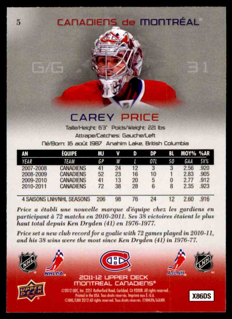2011-12 Upper Deck McDonald's Montreal Canadiens Carey Price #5 card back image