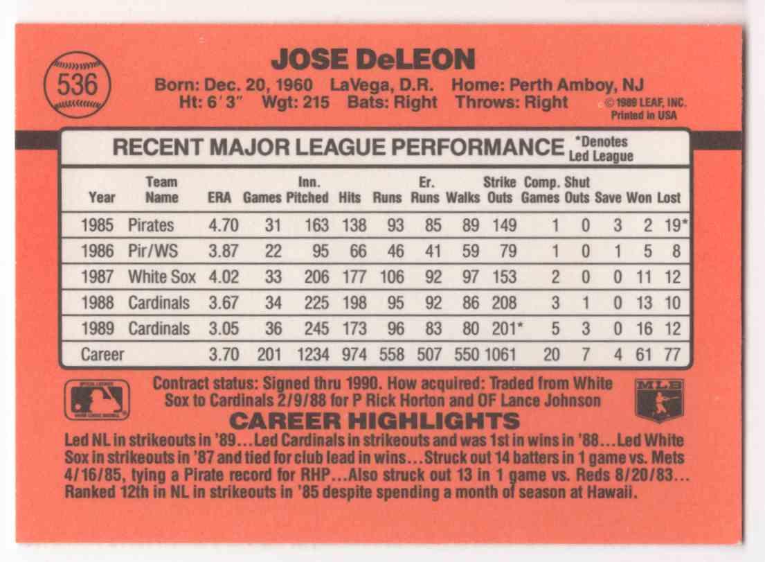 1990 Donruss Jose DeLeon #536 card back image