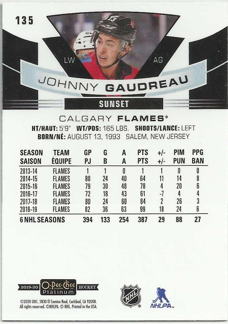 2019-20 O-Pee-Chee Platinum Sunset Johnny Gaudreau #135 card back image
