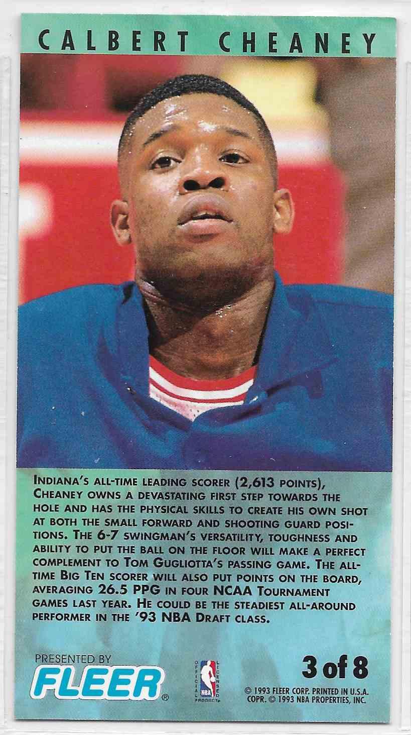 1993-94 Fleer NBA Jam Session Calbert Cheaney #3 card back image