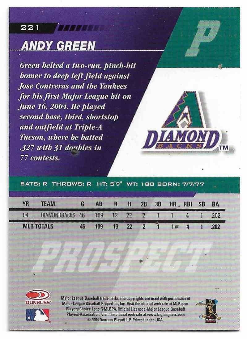 2005 Leaf Andy Green #221 card back image