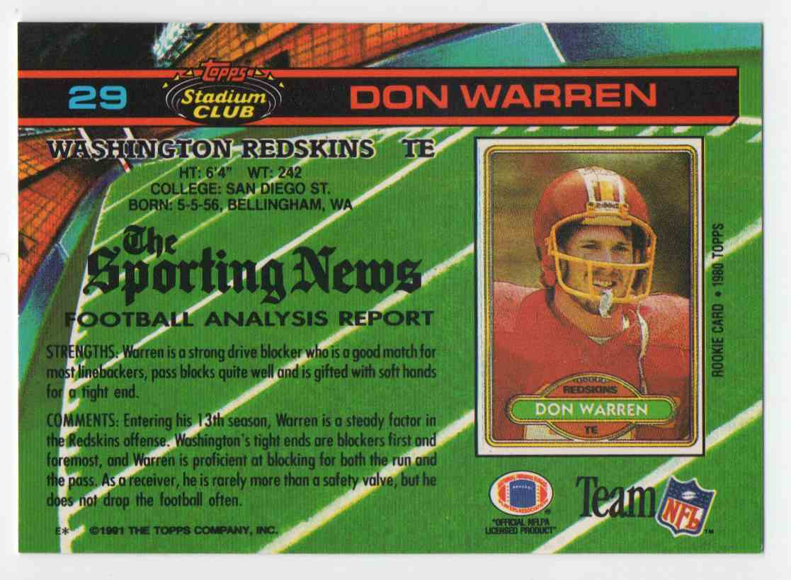1991 Stadium Club Don Warren #29 card back image