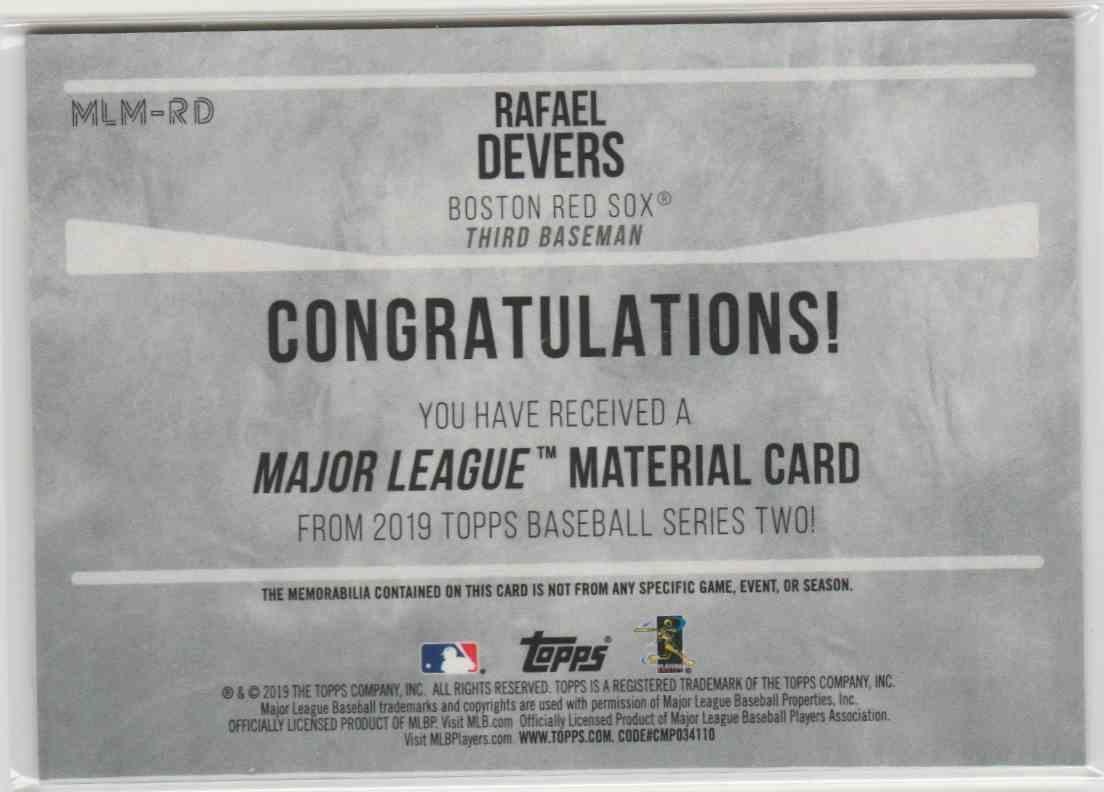 2019 Topps Major League Materials Rafael Devers #MLM-RD card back image