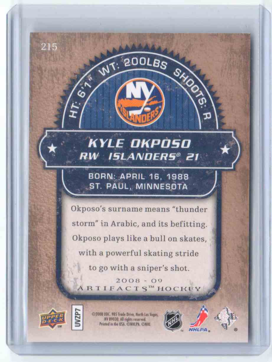 2008-09 Upper Deck Artifacts Kyle Okposo #215 card back image