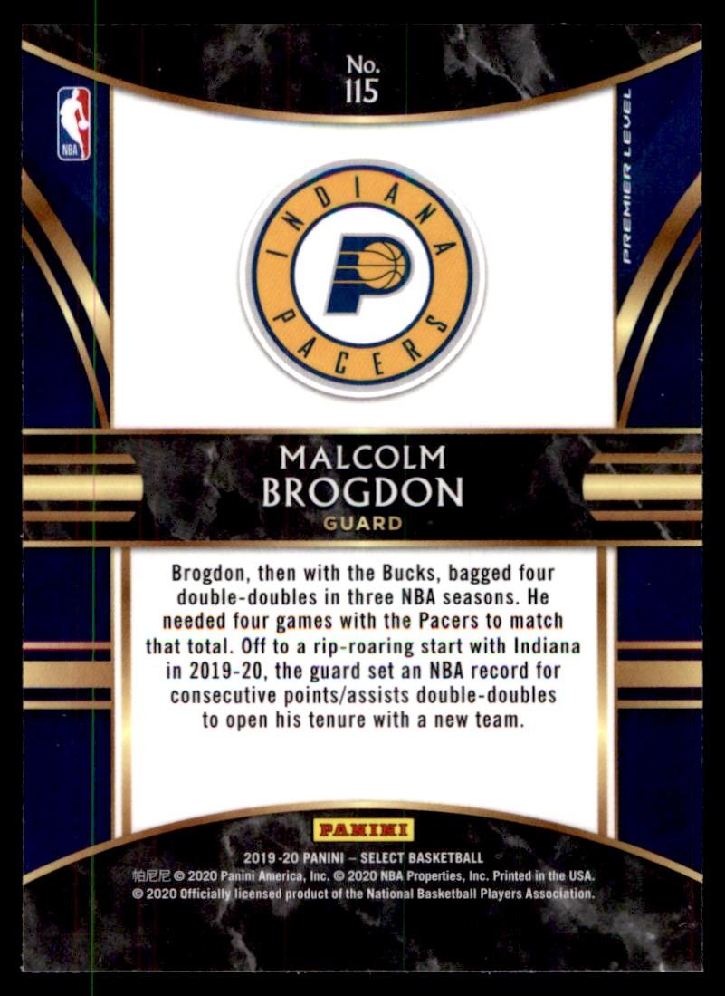 2019-20 Panini Select Malcolm Brogdon #115 card back image