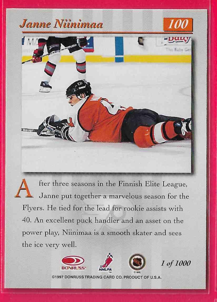 1997-98 Donruss Studio Silver Press Proof Janne Niinimaa #100 card back image