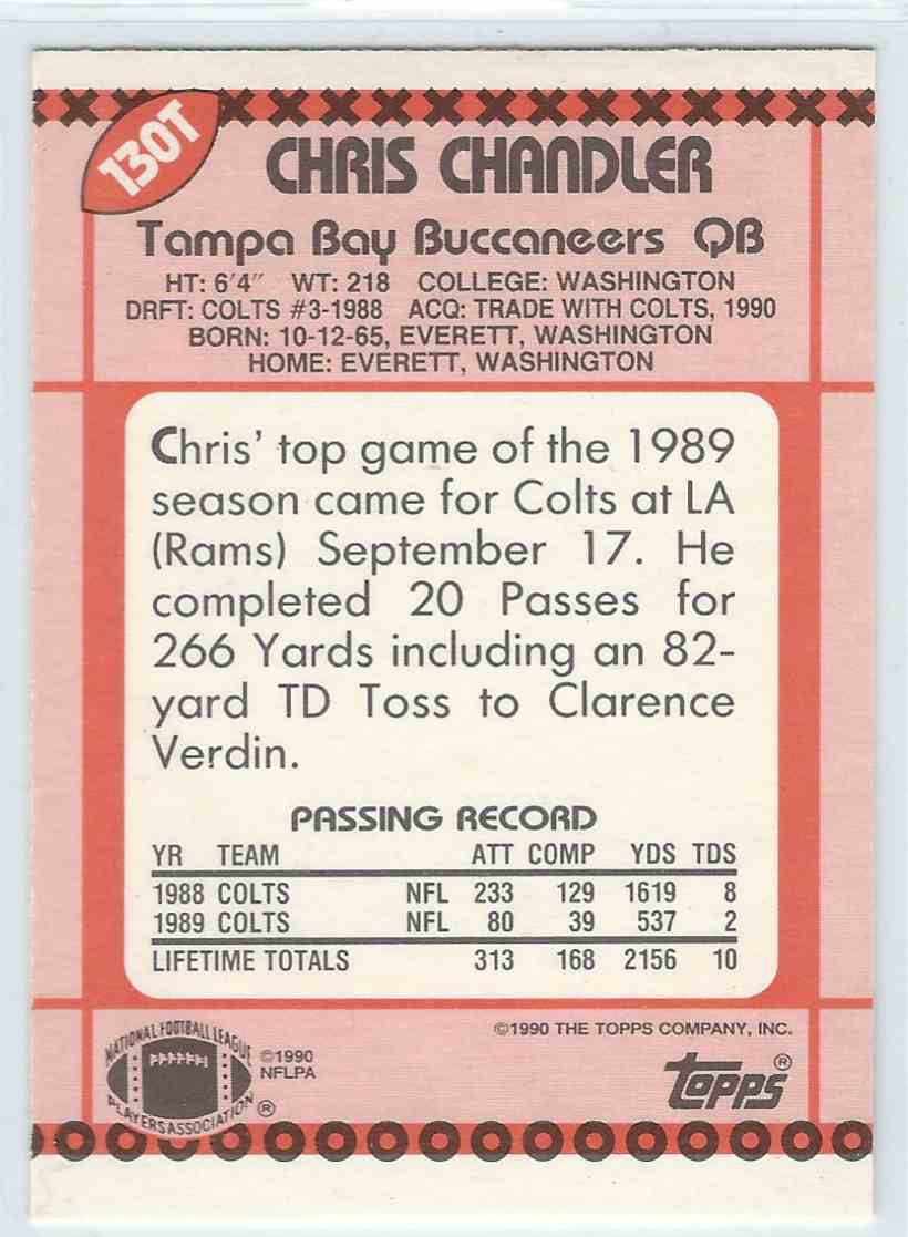 1990 Topps Traded Chris Chandler #130T card back image