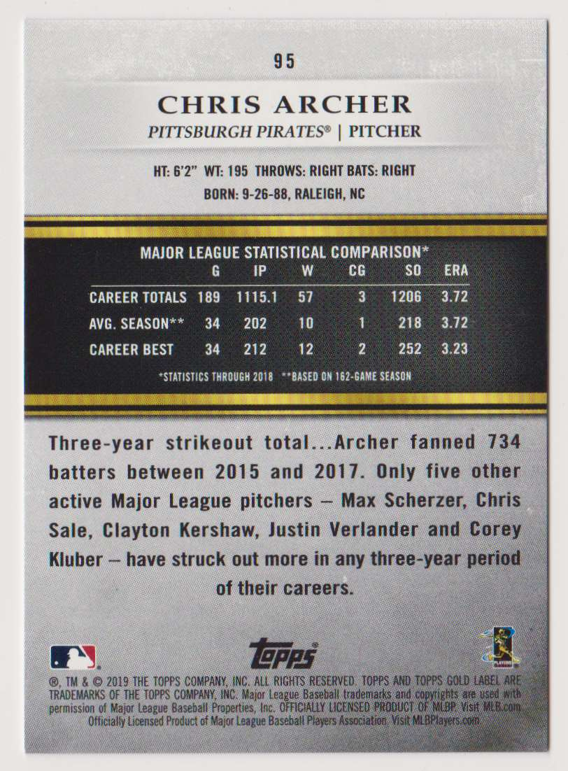 2019 Topps Gold Label Class 1 Chris Archer #95 card back image