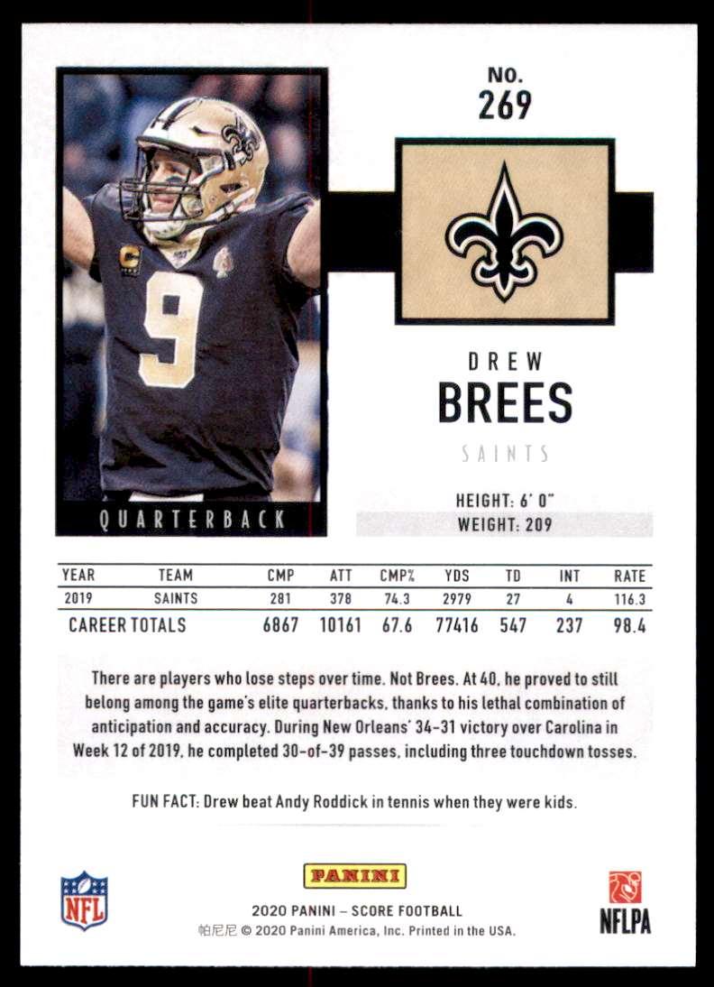 2020 Score Drew Brees #269 card back image