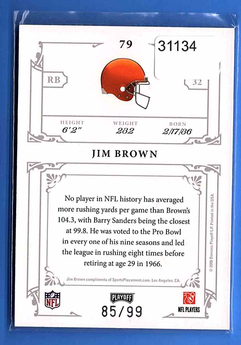 2008 Playoff National Treasures Jim Brown #79 card back image