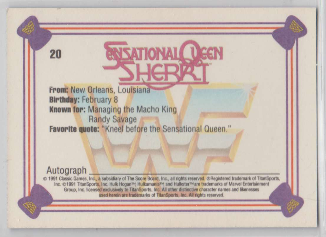 1991 Classic WWF Superstars Sensational Queen Sherrii #20 card back image