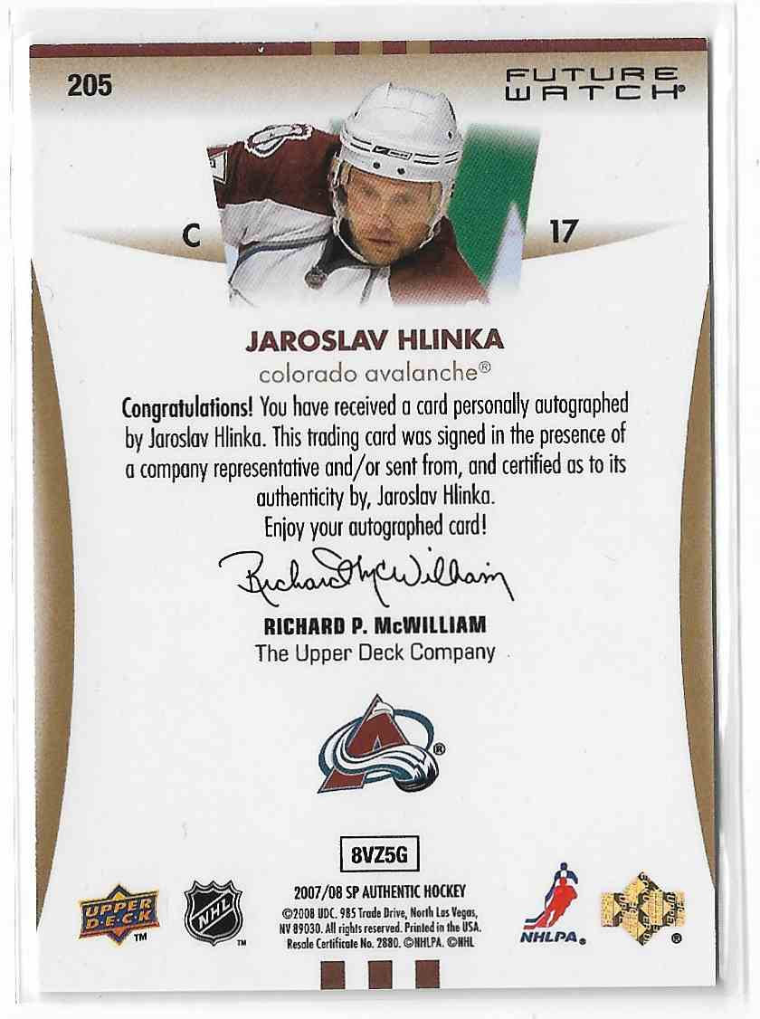 2007-08 SP Authentic Jaroslav Hlinka #205 card back image