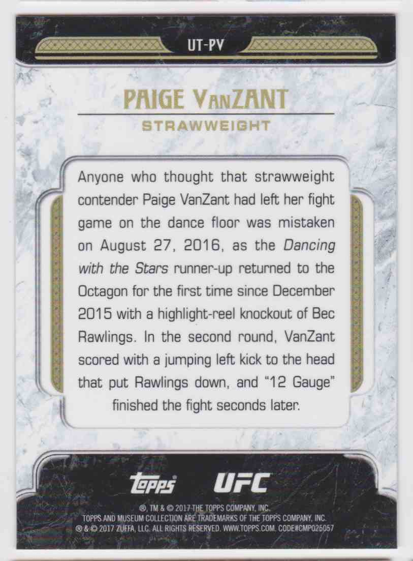 2017 Topps UFC Tier One Paige Vanzant #UT-PV card back image
