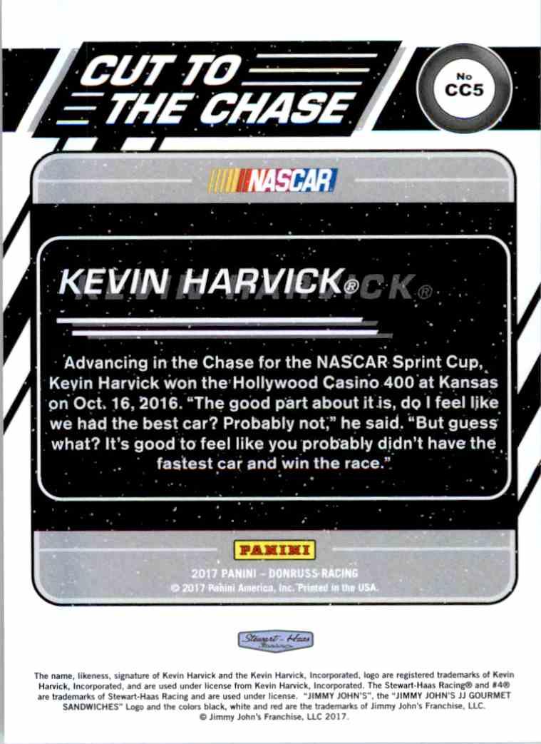 2017 Panini Donruss Racing Kevin Harvick #CC5 card back image