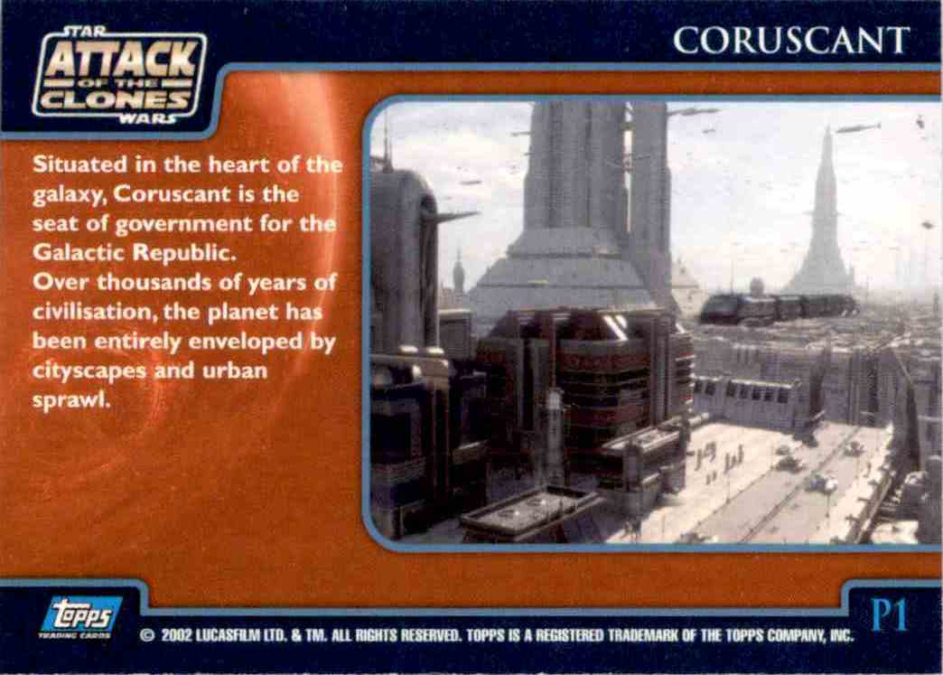 2002 Star Wars Attack Of The Clones Uk The Planets Coruscant #P1 card back image