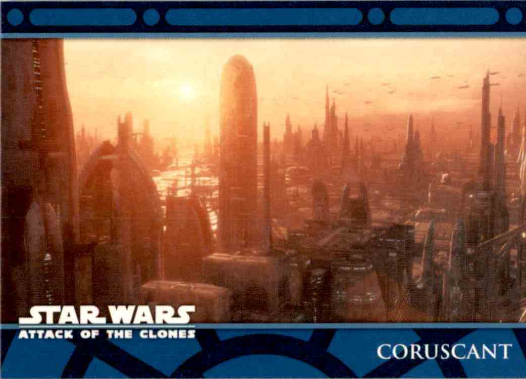 2002 Star Wars Attack Of The Clones Uk The Planets Coruscant #P1 card front image
