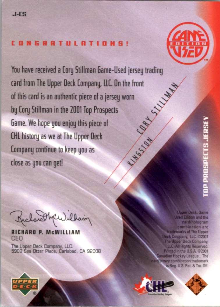 2001-02 UD CHL Prospects CHL Cory Stillman #J-CS card back image